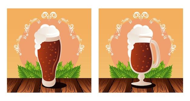 Плакат фестиваля празднования октоберфест с пивными чашками.