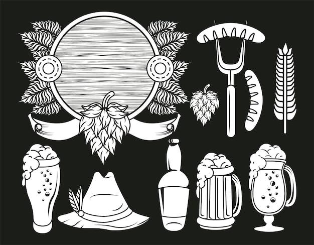 Oktoberfest celebration festival set icons drawing in black background.
