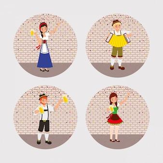 Oktoberfest celebration illustration, beer festival design with set icons and custome people