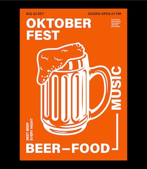 Oktoberfest celebration poster pretzel glass of beer and bottle with typography