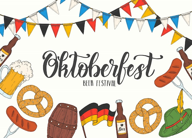 Oktoberfest celebration poster with hand drawn doodle and colored glass of beer