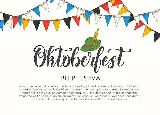 Oktoberfest celebration poster with hand made lettering and flag garland.