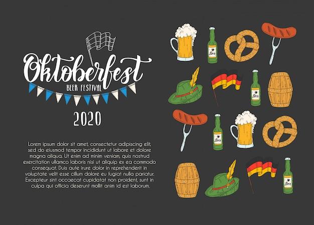 Oktoberfest celebration poster Premium Vector