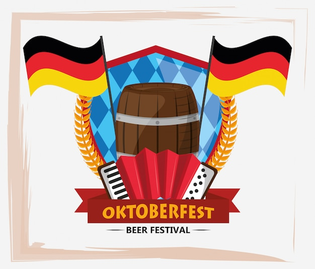 Oktoberfest celebration with beer barrel and accordion