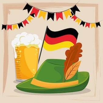 Oktoberfest celebration with beer and hat