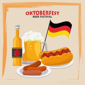 Oktoberfest celebration with beer and hot dog