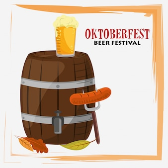 Oktoberfest celebration with beer and sausages