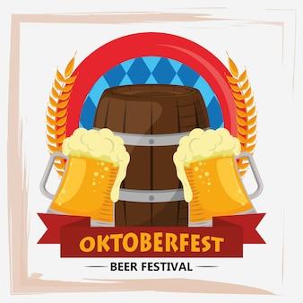 Oktoberfest celebration with beers jars and barrels