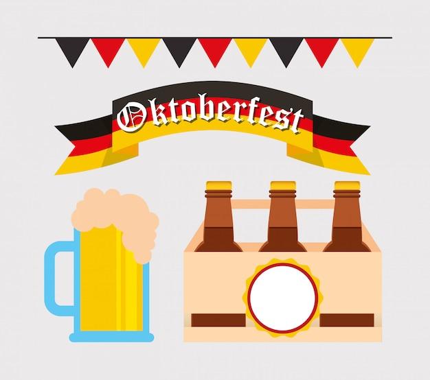 Oktoberfest celebration with set icons