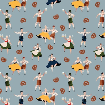 Oktoberfest character pattern. beer festival in germany. bavarian traditional october holiday. people in traditional oktoberfest costumes. german traditional clothes. trendy hand-drawn   design.