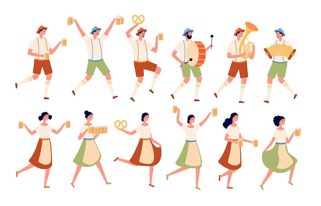 Oktoberfest characters. autumn traditional beer festival, persons dancing with drinks. german fest, people in bavarian costumes vector set. illustration oktoberfest character in traditional dress