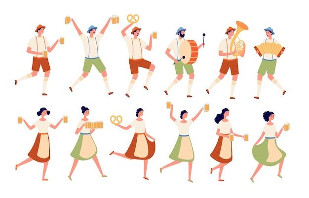 옥토버페스트 캐릭터. 가을 전통 맥주 축제, 술과 함께 춤추는 사람들. 독일 축제, 바이에른 의상을 입은 사람들 벡터 세트. 전통 의상을 입은 그림 옥토버페스트 캐릭터