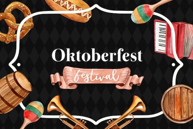 Oktoberfest classic banner design with beer bucket, pretzel, entertainment