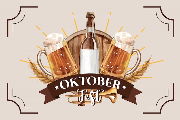 Oktoberfest classic banner design with beer bucket and wheat