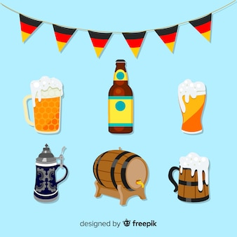 Oktoberfest classic element collection with flat design