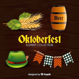 Oktoberfest classic element collection with realistic design