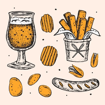 Октоберфест картинки, набор элементов. стакан пивного алкоголя, закуски, фаст-фуд. немецкая колбаса, жареный картофель, чипсы, фисташки.