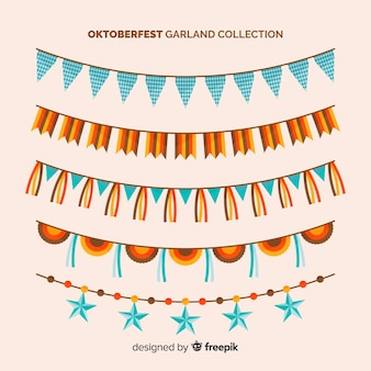 Oktoberfest colorful garland collection in flat design