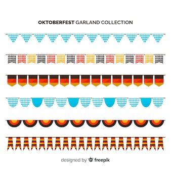 フラットデザインのオクトーバーフェストカラフルなガーランドコレクション