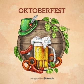 Oktoberfest concept background hand drawn style