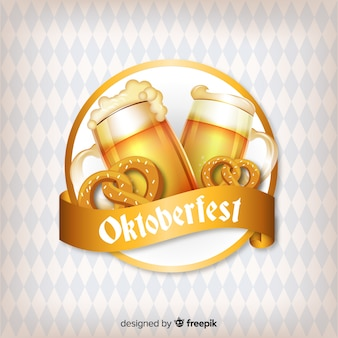 Oktoberfest concept background with beers and pretzels