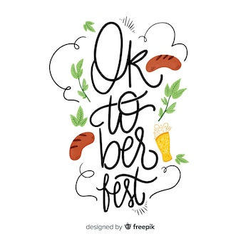 Oktoberfest concept background with calligraphy