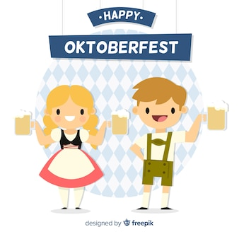 Oktoberfest concept background with cute couple