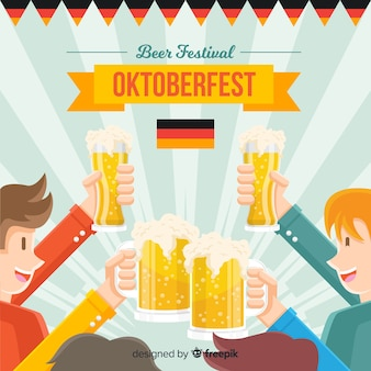 Oktoberfest concept background with happy people and beer