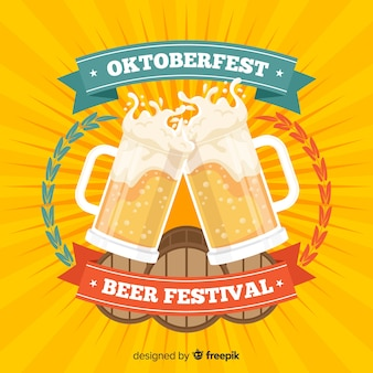 Oktoberfest concept background with jars of beer