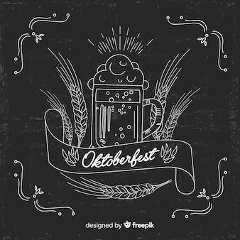 Oktoberfest concept on blackboard background