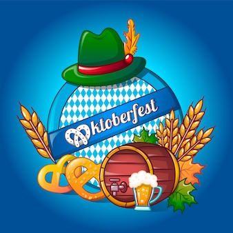 Oktoberfest concept, cartoon style