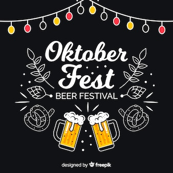 Oktoberfest concept with blackboard background