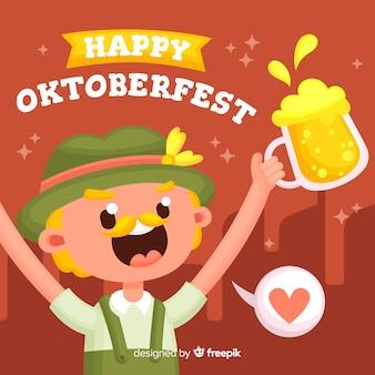 Oktoberfest concept with flat design background