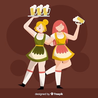 Oktoberfest concept with flat design background