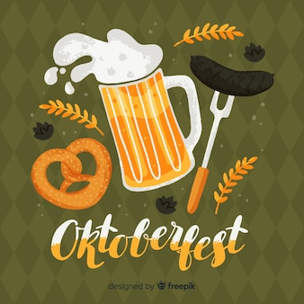 Oktoberfest concept with hand drawn background