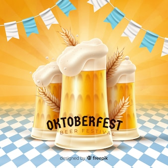 Oktoberfest concept with realistic background