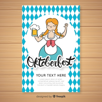 Oktoberfest cover template with young woman