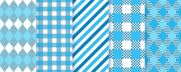 オクトーバーフェストダイヤモンドのシームレスなパターン。青いバイエルンの背景。トローチの幾何学的なテクスチャ。