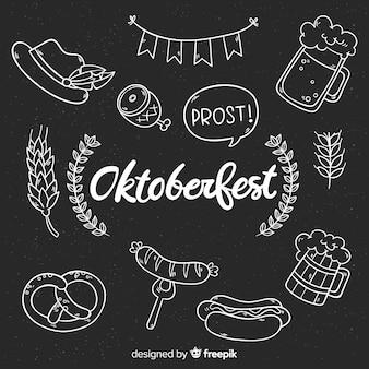 Oktoberfest elements background blackboard style