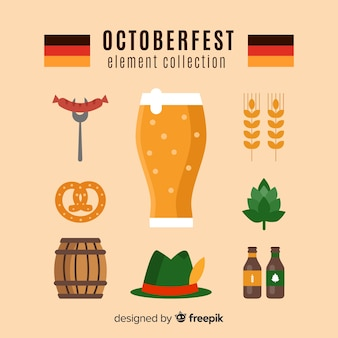 Oktoberfest elements collection in flat design