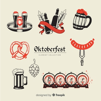 Oktoberfest elements collection in hand drawn style