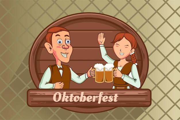 Oktoberfest fast human and woman drink beer