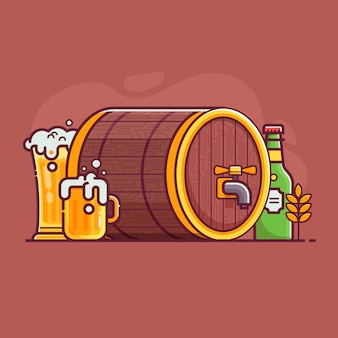 Концепция пивоварения фестиваля октоберфест. бутылка и полный стакан крафтового пива с пеной