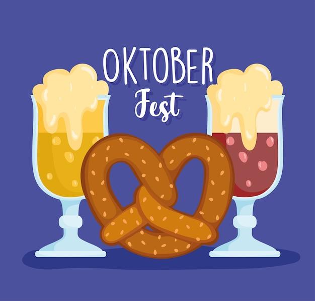 Фестиваль октоберфест, пиво с пеной и крендели, традиционная иллюстрация празднования германии