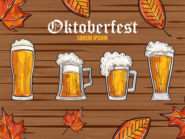 Oktoberfest festival celebration with beers and autumn leaves