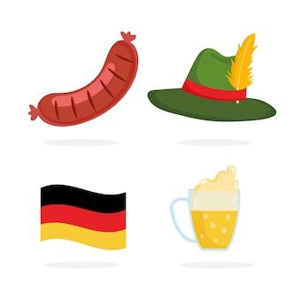 Фестиваль октоберфест, значки шляпа колбаса пивной флаг, праздник германии традиционные иллюстрации