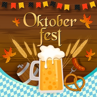 Oktoberfest festival  with wooden plank  and beverage and food.
