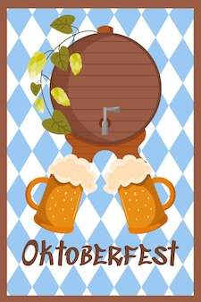 Oktoberfest festive banner background germany event beer festival wood barrel and mugs with drinks