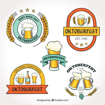 Oktoberfest, five badges with beers
