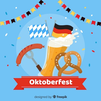 Oktoberfest flat design with elements